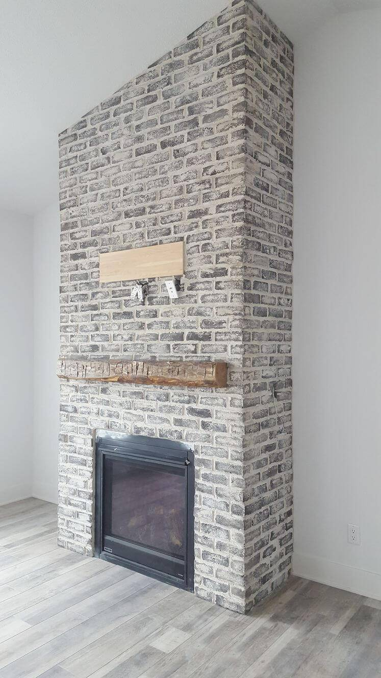 Thin Brick: Ashland Tundra Overgrouted – mantel by Iowa Barn Door